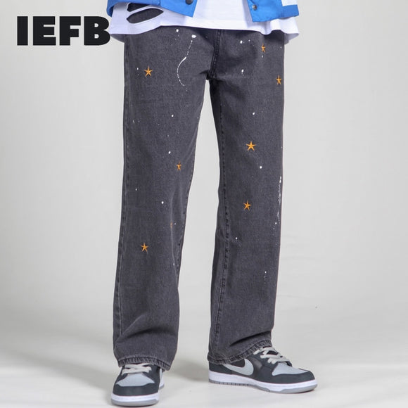 IEFB / men's wear street splash-ink embroidered loose jeans trendy straight vintage dad pants men hip hop denim trousers 9Y4180