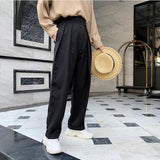 IEFB /Design new men's clothes High Waist Slanting Placket loose causal suit Trousers for male solid color all-match pants Y3306