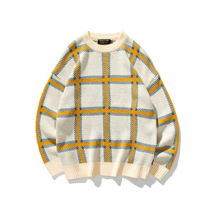 IEFB /men's clothing 2020 autumn winter knitwear tops contrast color plaid print casual loose pullover warm sweater new 9Y3791