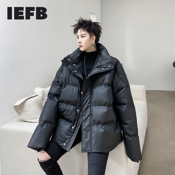 IEFB Winter 2020 PU leather back folded cotton padded jackets for men loose stand collar oversized clothes black coat 9Y4434