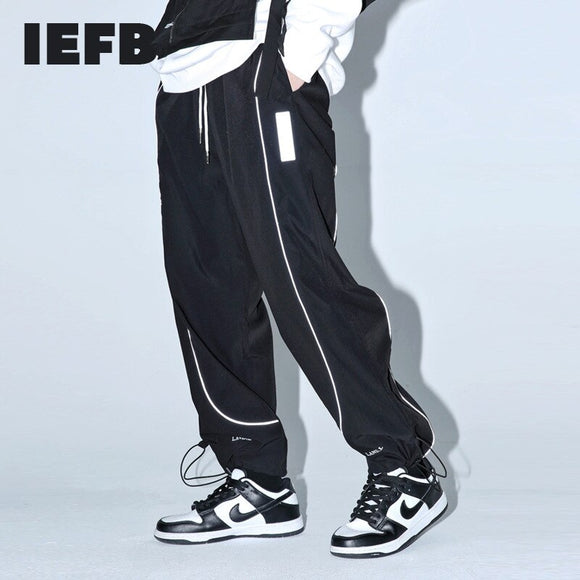 IEFB men's reflective strip straight pants men's streetwear fashion drawstring Leggings loose elastic waist casual trousers 4863