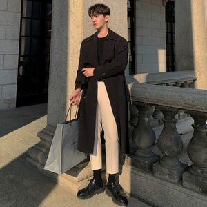 IEFB /men's wear 2021 spring  fashion new double Breasted Clothes Male Long coat Loose Overcoat Trend Handsome casual 9Y882