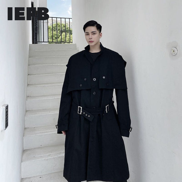 IEFB /men's wear spring new black long trench coat design personalized single breasted classic big size windbreaker belt 9Y3986