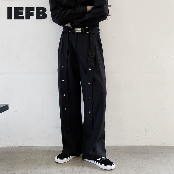 IEFB /men's wear niche black trousers for male 2021 spring  new personality ribbon straight loose wide leg pants 9Y1619