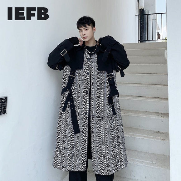 IEFB spring witner geometric pattern stitching bandage windbreaker for men 2021 tide new color blokc long trench coat 9Y4625