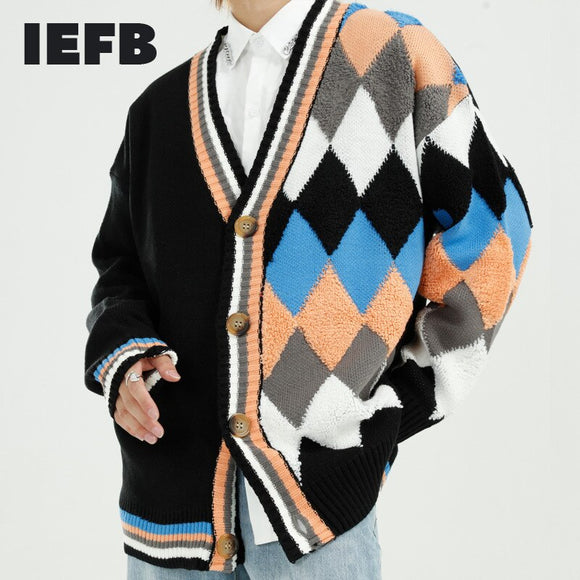 IEFB men's wear autumn winter 2020 new Korean loose diamond color block knitted cardigan sweater coat for men oversized 9Y4604
