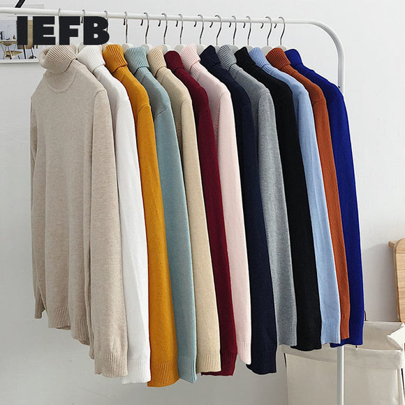 IEFB / men's wear 12-color turtleneck sweater thin style knitted tops for male all-match solid color long sleeve tops 9Y3186