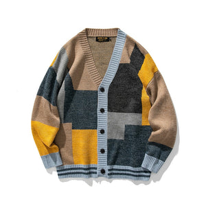 IEFB / men's clothing 2020 Autumn cardigan sweater V-neck single breasted color block patchwork loose knitted coat for men Y3802