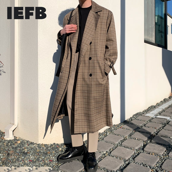 IEFB /men's wear mid-length trench coat plaid print Korean handsome oversize spring knee-high Windbreaker double breasted 9Y3943