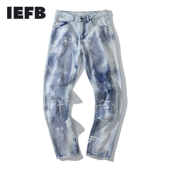 IEFB /men's wear fashion blue jeans graffiti tie-dyed Straight jeans high street Korean hip hop vintage denim trousers 9Y3506