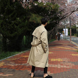 IEFB /Men's wear 2021 spring  fashion new Loose Coat casual large size Windbreaker Trend Handsome o vercoat long coat 9Y881