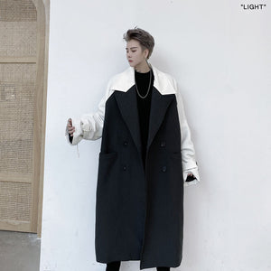 IEFB /men's wear 2021 spring winter double-breasted lapel contrast color mid-length trench coat large size windbreaker 9Y4006