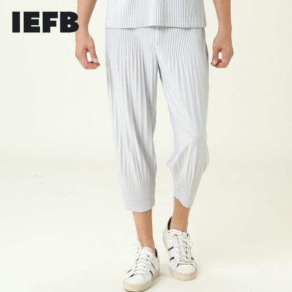 IEFB /men's wear pleated japanese streetwear fashion harem pants male's loose base all-match ankle-length pants 9Y3839 JF117