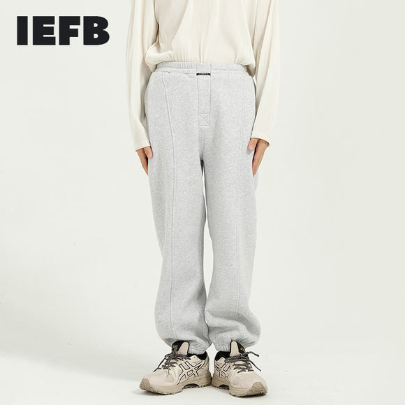 IEFB Men's Wear spring Winter 2021 New Plush Legged Casual Pants For Men's Korean Fashion Elastic Waist Loose Sweatpants 9Y5059