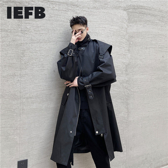 IEFB design streetwear trench coat for men spring new oversize windbreaker mens stand collar zipper clothing mid length 9Y4413