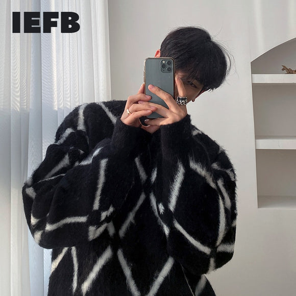 IEFB Plush plaid sweater men's autumn winter Korean fashion loose vintage kintwear thickened pullogers tops round collar 9Y4553