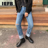 IEFB men's clothing loose straight tube jeans Korean trendy hole casual denim blue pants spring new trousers for male tide Y4302