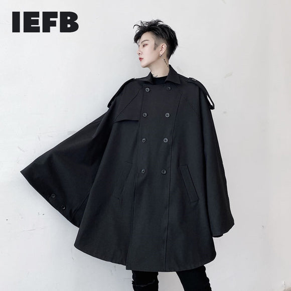 IEFB /men's wear 2021 spring double-breasted black shawl trench coat cloak windbreaker loose large size turn down collar coat