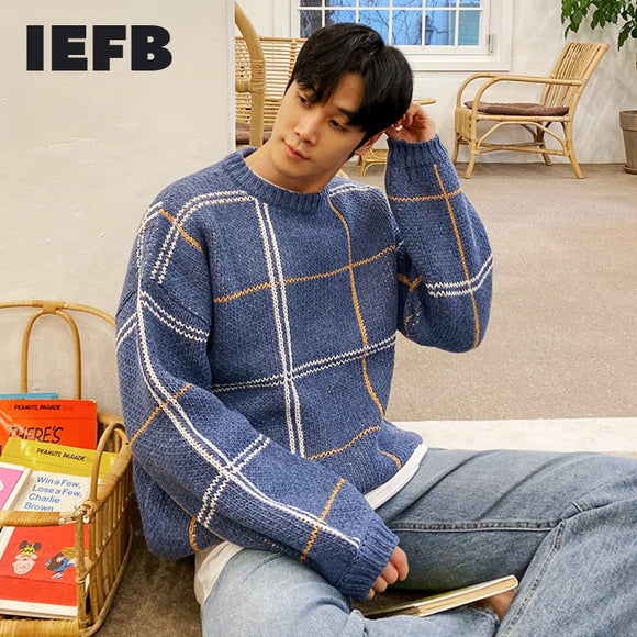IEFB autumn winter blue Plaid round neck sweater for men thick bottoming loose kintwear Korean vintage big size tops mens 9Y4514