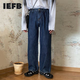 IEFB /men's wear Korean style adjustable waist denim trouers trendyv ertical loose high rise wide leg straight jeans male 9Y3530