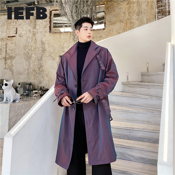 IEFB 2021 spring New High Definition Polarized Illusion Trench Coat For Men Lace Up Single Button Loose Windbreaker Tide 9Y4704
