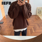 IEFB autumn winter round neck Sweater men's Korean fashion solid color loose basic loose kintwear vintage clothes oversize Y4524