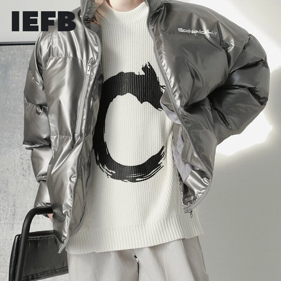 IEFB Men's Stand Collar Thickened Silver Grey / Black Drawstring Cotton Padded Clothes Autumn Winter Fashion Oversize Coat Y4919