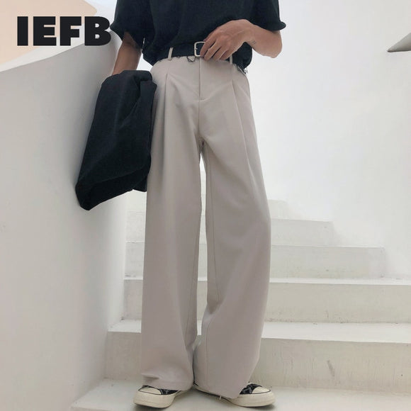 IEFB 2021 Spring New Wide-leg Mop Pants For Men Korean Streetwear Fashion Loose Straight High Rise Pants Casual Trousers 9Y3527