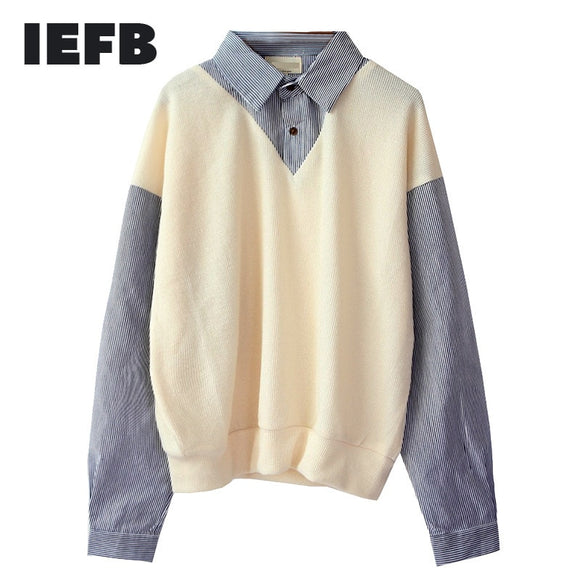 IEFB /men's Wear False Two Pieces Shirts Male 2021 Spring New Color Block Korean Fashion Pullovers Tops Loose Personality 9Y1056