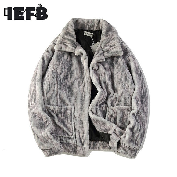 IEFB / Men's Clothes 2020 Hip Hop Tide Leather Printing faux Fur Coat For Men and Women Comfortable Jakcet With Pockets 19H-a185