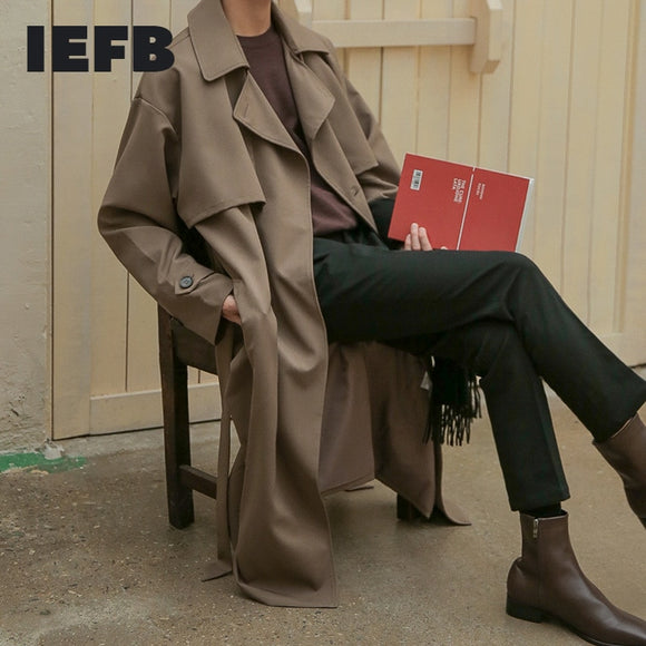IEFB 2021 Spring New Korean Fashion Double Breasted Windbreaker Men's Middle Long Loose Handsome Men's Trench Coat Belt 9Y5262