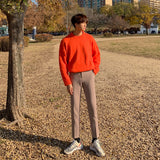 IEFB /men's wear round collar sweater 2020 autumn winter fashion Korean style large size loose knitted long sleeve tops 9Y3249