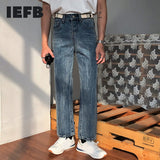 IEFB /men's wear 2021 spring  new ankle-length pants for male fashion all-match straight loose jeans vintage tide 9Y1946