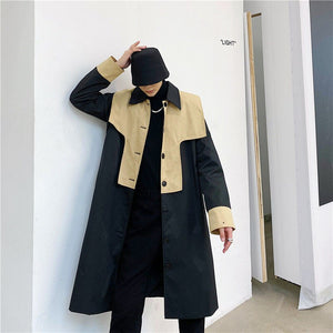 IEFB color block oversized clothing for men streetwear design mid length trench coat spring single breasted windbreaker 9Y4411