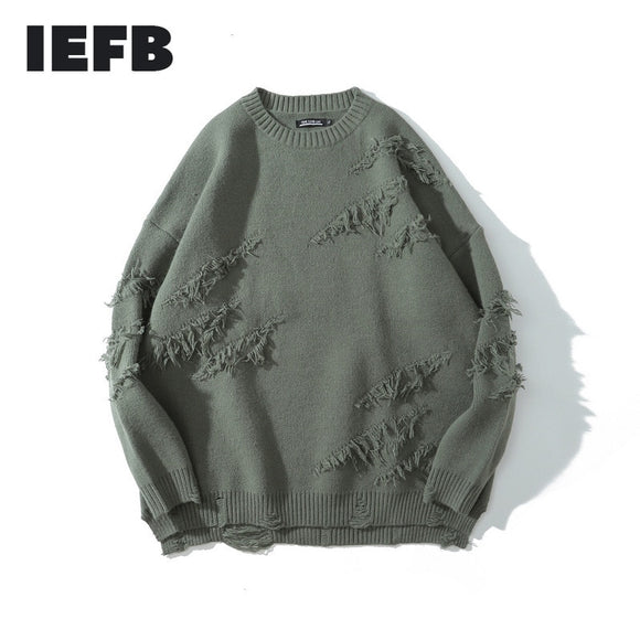 IEFB /men's clothing 2020 autumn and winter male's knitted pullover tops High Street round neck hole sweater for couple 9Y3786