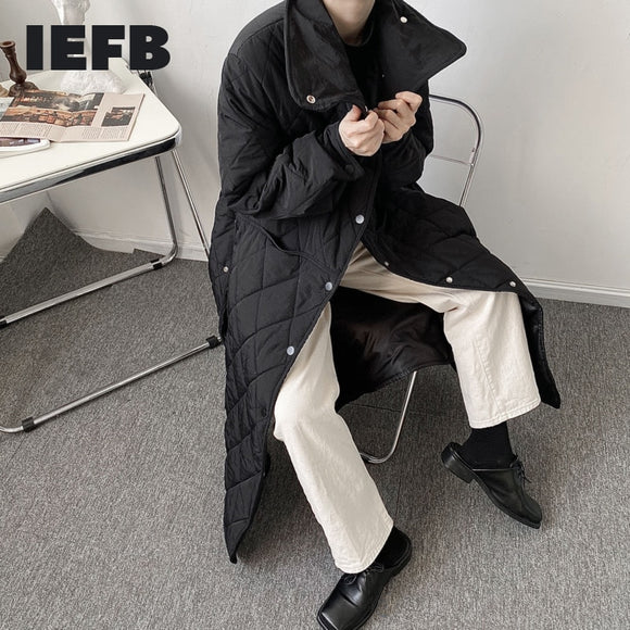 IEFB Men's Black Long Cotton Padded Clothes For Men 2020 New Design Japanese Streetwear Fashion Black Button Split Winter Coat