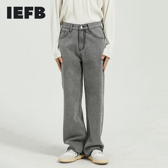 IEFB Men's Wear 2021 Spring New Black Jeans Korean Loose Straight Tube Light Grey Raw Edge Jeans For Men Straight Trousers Y5066