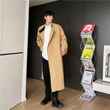 IEFB men's Minimalist long trench coat simple stand collar asymmetric color block patchwork inside collar windbreaker fall Y4696