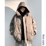 IEFB men's clothing hooded 5XL oversize cotton padded jackets for male drawstring casual black white coat korean trend new Y4343