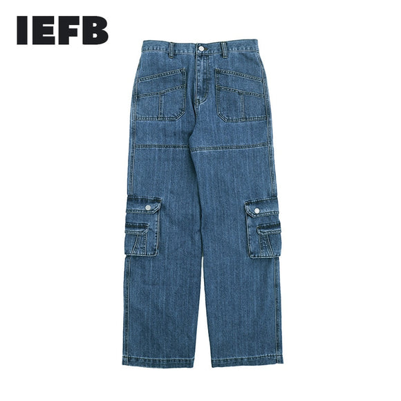 IEFB men's wear new spring winter 2021 tide Multi Pocket working jeans mens casual wide leg denim pants vintage streetwear Y4584