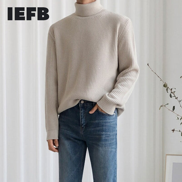IEFB / men's wear Turtleneck sweater for male tide autumn winter loose solid color Japanese warm knitted top vintage long sleeve