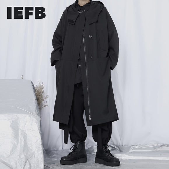 IEFB /men's wear Windbreaker male's long coat oversize loose hooded long sleeve japan style big size long trench for male 9Y2517