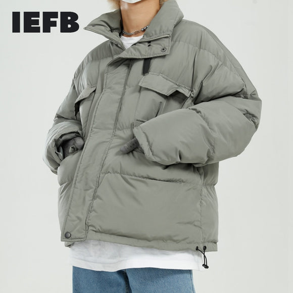 IEFB Men's Wear 2020 New Thickened Cotton Padded Jacket Oversized Elastic Hem Stand Collar Winter Coat Thick Warm Clothes 9Y5050