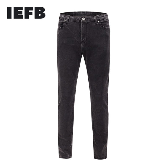 IEFB /men's wear streetwaer slim black jeans for male 2021 Korean spring new all-match elastic fabric pencil pants 9Y2177