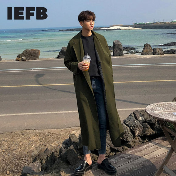 IEFB Korean Trend Windbreaker With Belt 2021 Spring New Mid Length Oversize Trench Coat Notched Korean Long Sleeve Cloth 9Y5277