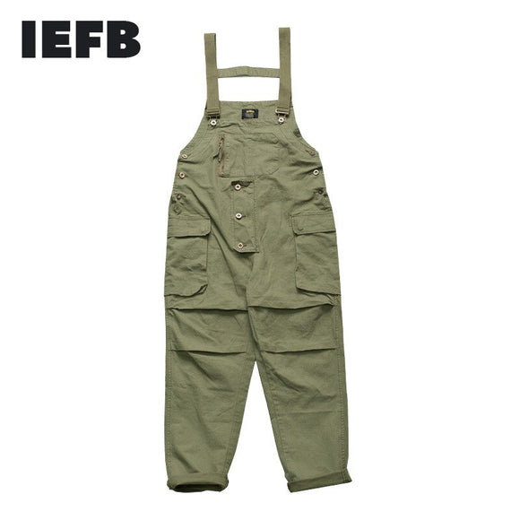 IEFB Work Wear Men's Multi Pocket Loose Casual Sleeveless Jumpsuit Janpanese Streetwear Fashion Trousers High Quality 9Y4468