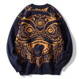 IEFB Autumn and winter thickened Chinese embroidery loose Crew Neck Sweater men's Harajuku couple's causal warm kintwear 9Y4831