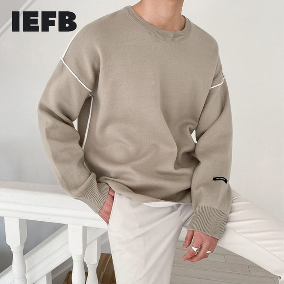 IEFB autumn winter sweater men's fashion loose crew neck kintted tops Korean trendy bottoming basic kintwear clothes male 9Y4545