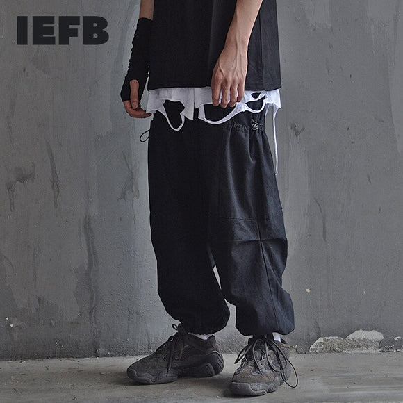 IEFB Wide legged overalls men's high street fashion elastic waist hip hop black trousers drawstring loose causal pants 9Y4788