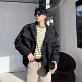 IEFB Korean fashion coat for men three-dimensional large pocket short style cotton padded clothes mens oversize jackets 9Y4416
